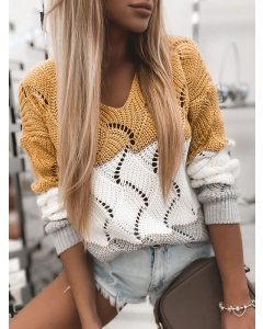 Dresswel Women V Neck Cutout Color Block Long Sleeve Casual Knitted Blouse Tops