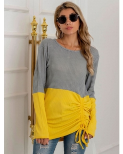 Dresswel Women Colorblock Drawstring Hem Crew Neck Long Sleeve Knitted Casual Blouse Tops