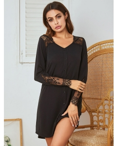 Dresswel Women Lace Stitching V Neck Buttons Long Sleeve Casual Comfy Nightdress Mini Dress
