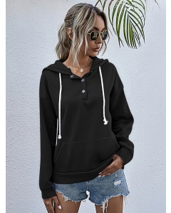 Dresswel Women Solid Color Button Pocket Drawstring Hooded Loose Pullover Hoodie Tops
