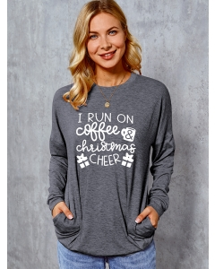 Dresswel Women I Run On Coffee And Christmas Cheer Gift Printed Sweatshirts Tops