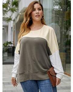 Dresswel Women Oversized Contrast Color Stitching Long Sleeved Relaxed T-shirt Tops