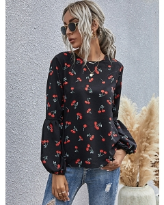 Dresswel Women Fruits Graphic Print O Neck Long Sleeved Splicing Relaxed Blouse Tops