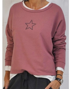 Dresswel Women Rhinestone Star Print Pullover Round Neck Long Sleeves Sweatshirt Top