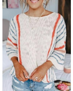 Dresswel Women Stripes Print Knitted Pullover Round Neck 3/4 Sleeves Sweater Top
