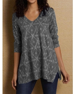 Dresswel Women Geometric Print V Neck Side Split Long Sleeve T-Shirt Tops