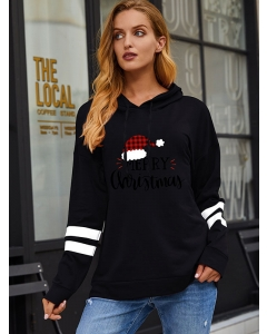Dresswel Women Merry Christmas Letter Graphic Printed Colorblock Long Sleeve Stylish Casual Hoodies Tops