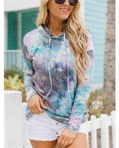 Dresswel Women Tie Dye Printed Drawstring Long Sleeve Casual Fashion Hoodies Tops
