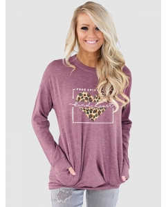 Dresswel Women Free Spirit Kind Heart Letter Graphic Leopard Pocket Sweatshirts Tops
