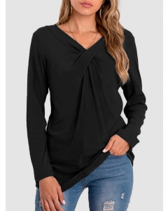 Dresswel Women Solid Color V Neck Long Sleeve Front Knotted Slim Fashion Blouse Tops