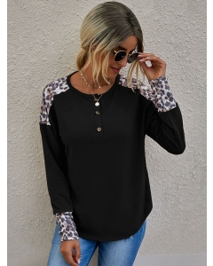 Dresswel Women Leopard Colorblock Button Crew Neck Long Sleeve Casual Knitted Blouse Tops
