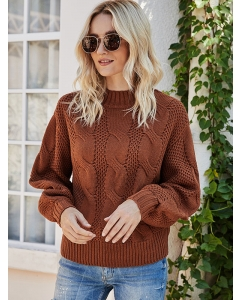 Dresswel Women Solid Color Crew Neck Long Sleeve Fashion Comfy Pullover Sweater Tops