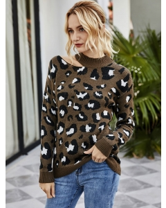 Dresswel Women Leopard Printed Ripped Crew Neck Long Sleeve Fashion Pullover Knitted Sweater Tops