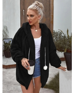 Dresswel Women Solid Color Zipper Up Long Sleeve Hooded Drawstring Woolen Coat Tops