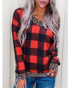 Dresswel Women Plaid Print Leopard Print V Neck Long Sleeves Sweatshirt Top