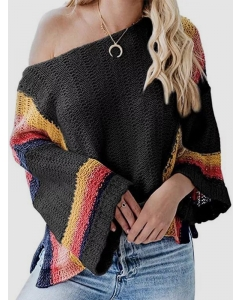 Dresswel Women Pullover Color Block Hollow Cold Shoulder Long Sleeves Sweater Top