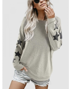 Dresswel Women Five-pointed Star Print Crew Neck Long Sleeve Slouchy Sweatshirt Tops