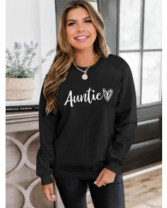 Dresswel Women Auntie Letter Graphic Printed Crew Neck Casual Long Sleeve Simple Sweatshirts Tops
