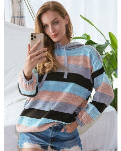 Dresswel Women Colorblock Crew Neck Hooded Loose Casual Long Sleeve Knitted Sweater Tops