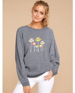 Dresswel Women Colorful Daisy Floral Printed Round Neck Long Sleeve Sweatshirts Tops