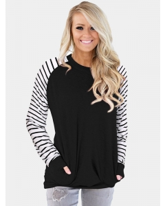 Dresswel Women Stripe Colorblock Crew Neck Long Sleeve Casual Fashion Comfy Blouse Tops