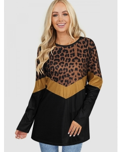Dresswel Women Pullover Tunic Leopard Print Color Block Round Neck Blouse Tops