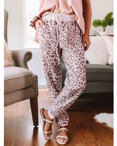 Dresswel Women Leopard Printed Elastic High Waist Pocket Fashion Casual Loose Pants Bottoms