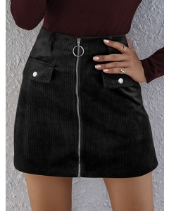 Dresswel Women Plain Zipper Front High Waist Pocket Mini Skirt