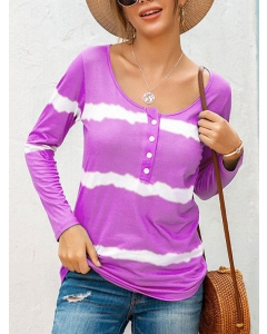 Dresswel Women Tie Dye Printed Buttons Crew Neck Long Sleeve Casual Blouse Tops