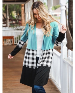 Dresswel Women Checkered Splicing Contrast Color Long Sleeve Mid-length Cardigan Tops