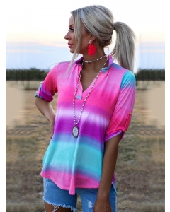 Dresswel Women Tie Dye Printed V Neck Short Sleeve Casual Fashion Loose Fit Blouse Tops