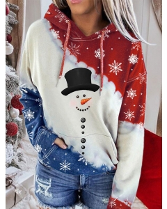 Dresswel Women Believe Merry Christmas Snowman Plaid Printed Color Block Hoodie Tops