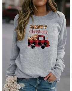 Dresswel Women Merry Christmas Car With Tree Leopard Plaid Printed Sweatshirts Tops
