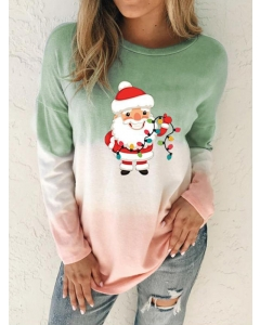 Dresswel Women Santa Claus Colorful Lights Graphic Tie Dye Printed Pullver Blouse Tops