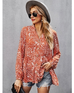 Dresswel Women Floral Printed V Neck Button Long Sleeve Fashion Loose Pleated Blouse Tops