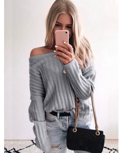 Dresswel Women Plain Knitted Pullover Cold Shoulder Long Sleeves Sweater Top