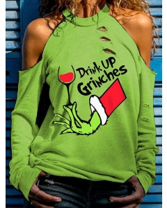 Dresswel Women Drink Up Grinches Letter Graphic Printed O Neck Long Sleeve Cold Shoulder Blouse Tops