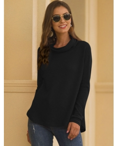 Dresswel Women Solid Color Cowl Neck Long Sleeve Knitted Loose Sweaters Blouse Tops