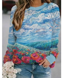 Dresswel Women Oil Painting Graphic Printed Long Sleeve Pullover Sweatshirts Tops