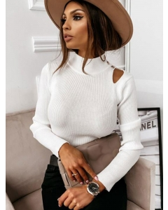 Dresswel Women Solid Color High Neck Buttons Long Sleeve Knitted Slim Blouse Tops