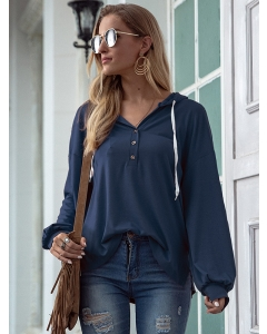 Dresswel Women Solid Color V Neck Buttons Long Sleeve Drawstring Stylish Hoodies Tops