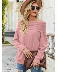 Dresswel Women Solid Color Off-The-Shoulder Long Sleeve Casual Stylish Sweater Tops