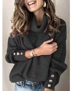 Dresswel Women Solid Color High Neck Long Sleeve Buttons Casual Knitted Sweater Tops