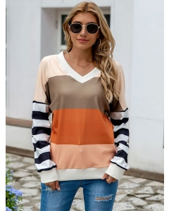 Dresswel Women V Neck Stripes Colorblock Splicing Pullover Loose Fit Sweatshirt Tops