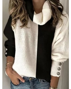 Dresswel Women Colorblock High Neck Long Sleeve Buttons Casual Knitted Sweater Tops