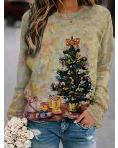 Dresswel Women Christmas Tree Gifts Oil Painting Graphic Printed Sweatshirts Tops