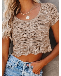 Dresswel Women Scalloped Hemline Eyelet Crew Neck Crochet Cropped T-shirt Tops