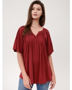 Dresswel Women Solid Color Ruching Ruffle Flutter Sleeves V Neck Blouse T-shirt Tops