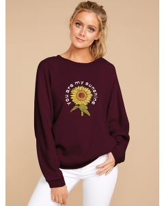 Dresswel Women You Are My Sunshine Sunflower Letter Graphic Floral Sweatshirts Tops