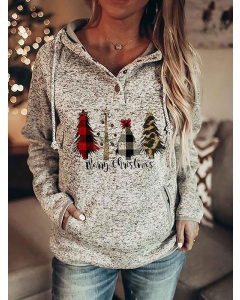 Dresswel Women Christmas Print Button Hooded Sweatshirt with Pockets Hoodies Tops